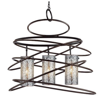 Loop 3-Light Foyer Pendant Shade color: Iridescent mosaic cylinder