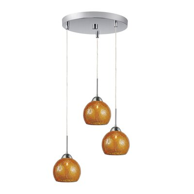 3-Light Mini Pendant Cluster Shade Color: Amber, Finish: Satin Nickel