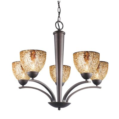 North Bay 5 Light Chandelier Finish: Metallic Bronze Shade Color: Mirror Mosaic Shade Shape: Bell Image