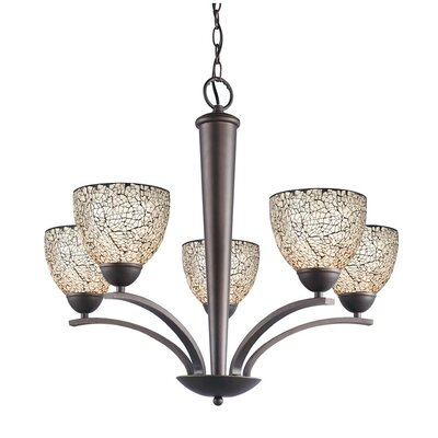 North Bay 5 Light Chandelier Finish: Metallic Bronze Shade Color: White Mosaic Shade Shape: Bell Image