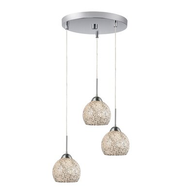 3-Light Mini Pendant Cluster Shade Color: White, Finish: Satin Nickel