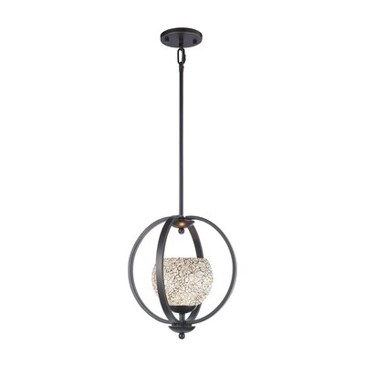 Geo 1-Light Mid Foyer Pendant Shade Color: White, Finish: Metallic Bronze