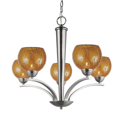 North Bay 5-Light Shaded Chandelier Finish: Satin Nickel, Shade Color: Amber Mosaic, Shade Shape: Elliptic Ball