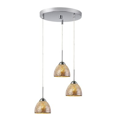 3-Light Mini Pendant Cluster Finish: Satin Nickel, Shade Color: Mirror