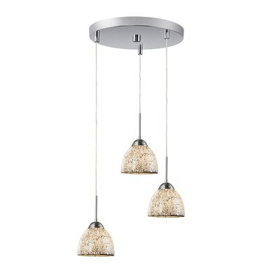 3-Light Mini Pendant Cluster Finish: Satin Nickel, Shade Color: White