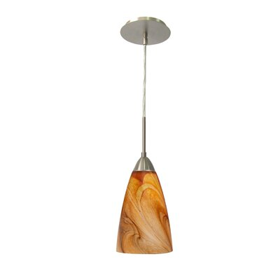 Art Glass 1-Light Mini Pendant Shade Finish: Parchment, Finish: Satin Nickel