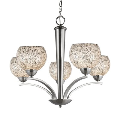 North Bay 5-Light Shaded Chandelier Finish: Satin Nickel, Shade Color: White Mosaic, Shade Shape: Elliptic Ball