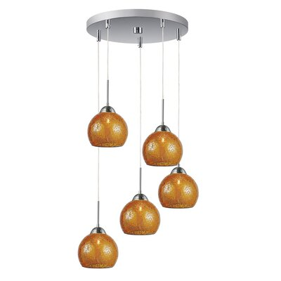 5-Light Mini Pendant Cluster Shade Color: Amber, Finish: Satin Nickel