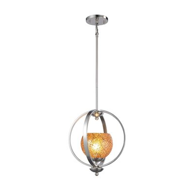 Geo 1-Light Mid Foyer Pendant Finish: Satin Nickel, Shade Color: Amber