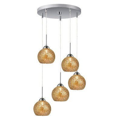 5-Light Mini Pendant Cluster Shade Color: Mirror, Finish: Satin Nickel