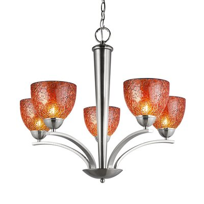 North Bay 5 Light Chandelier Finish: Satin Nickel Shade Color: Amber Mosaic Shade Shape: Bell Image