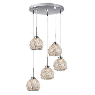 5-Light Mini Pendant Cluster Finish: Satin Nickel, Shade Color: White