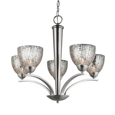 North Bay 5-Light Shaded Chandelier Finish: Satin Nickel, Shade Color: Mirror Mosaic, Shade Shape: Bell
