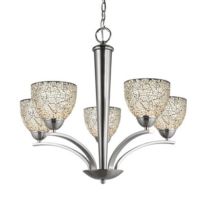 North Bay 5-Light Shaded Chandelier Finish: Satin Nickel, Shade Color: White Mosaic, Shade Shape: Bell