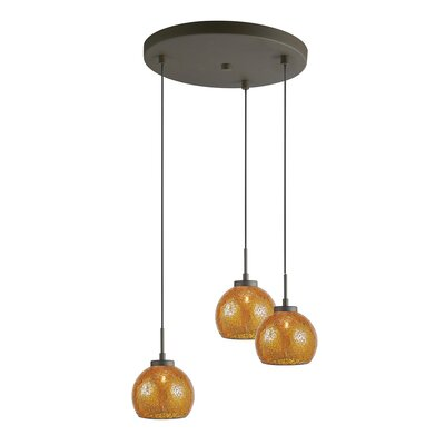 Ceiling Cluster 3-Light Mini Pendant Shade Color: Amber Mosaic, Finish: Metallic Bronze