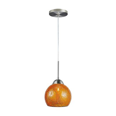 1-Light Mini Pendant Finish: Satin Nickel, Shade Color: Amber
