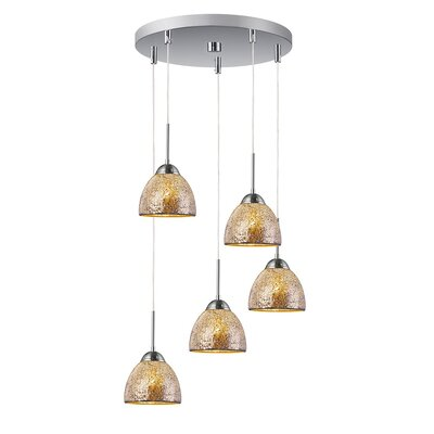 5-Light Mini Pendant Cluster Finish: Satin Nickel, Shade Color: Mirror