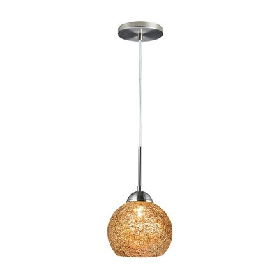 1-Light Mini Pendant Shade Color: Mirror, Finish: Satin Nickel