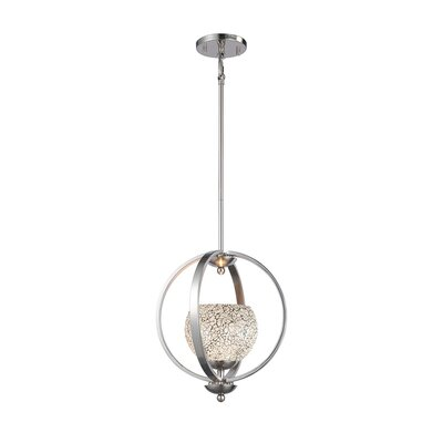 Geo 1-Light Mid Foyer Pendant Finish: Satin Nickel, Shade Color: White