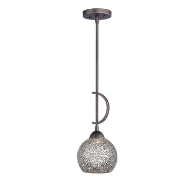 North Bay 1-Light Mini Pendant Finish: Metallic Bronze, Shade Color: Mirror Mosaic Bell