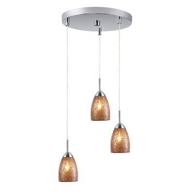 Murphy 3-Light Mini Pendant Finish: Satin Nickel, Shade Color: Amber Mosaic