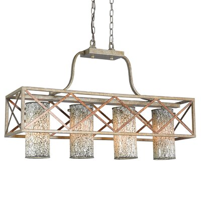 Braid 4-Light Kitchen Island Pendant Shade Color: White