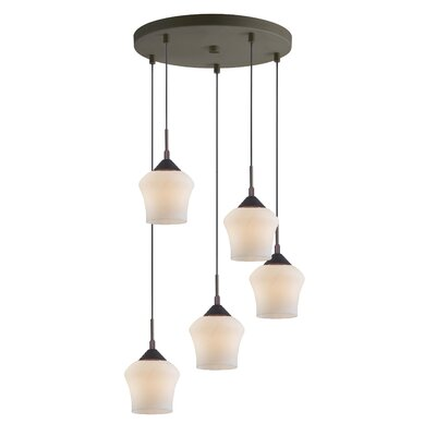 Belmont 5-Light Cascade Pendant Finish: Bronze