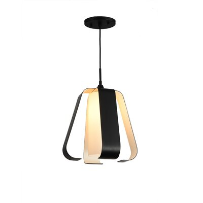 Bent 1-Light Mini Pendant Finish: Black and White