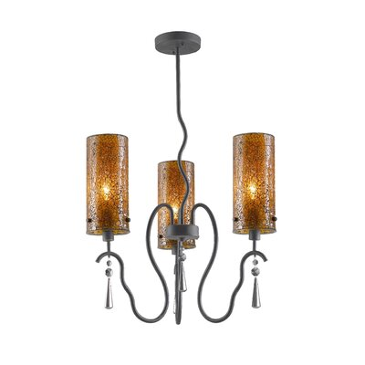 Haley 3-Light Shaded Chandelier Shade Color: Amber