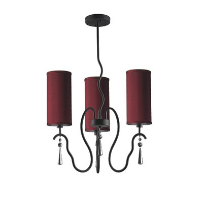 Haley 3-Light Shaded Chandelier Shade Color: Maroon