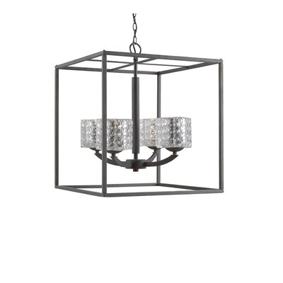 Mirage 4-Light Foyer Pendant Shade Color: Clear, Finish: Bronze