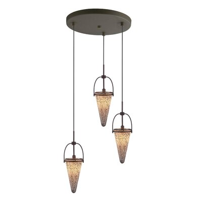 Kenda 3-Light Cascade Pendant Finish: Metallic Bronze, Shade Color: White