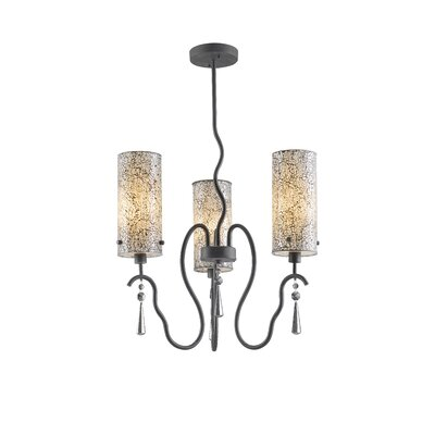 Haley 3-Light Shaded Chandelier Shade Color: White