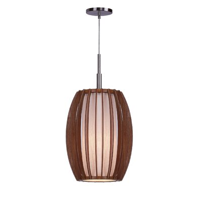 Fins Wood 1-Light Mini Pendant Finish: Satin Nickel