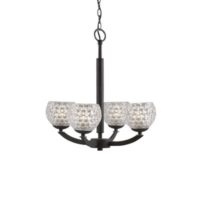 Mirage 4-Light Shaded Chandelier Finish: Metallic Bronze, Shade Color: Clear