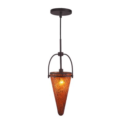 Kenda 1-Light Mini Pendant Finish: Metallic Bronze, Shade Color: Amber