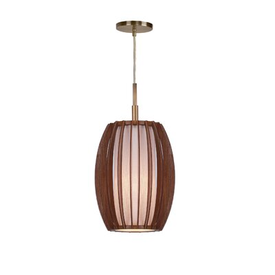 Fins Wood 1-Light Mini Pendant Finish: Brushed Brass