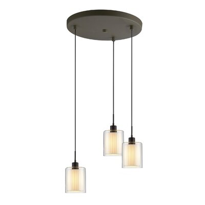 Alaina 3-Light Pendant Shade Color: Off White, Finish: Metallic Bronze