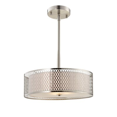 Ferrigno Vintage 3-Light Drum Pendant Finish: Satin Nickel