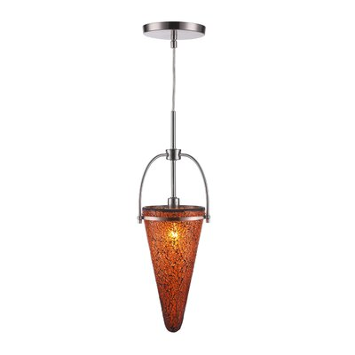 Kenda 1-Light Mini Pendant Finish: Satin Nickel, Shade Color: Amber