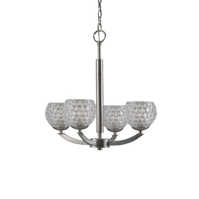 Mirage 4-Light Shaded Chandelier Shade Color: Clear, Finish: Satin Nickel