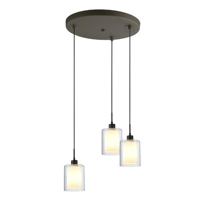 Alaina 3-Light Pendant Shade Color: Opal, Finish: Metallic Bronze
