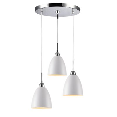 Vento 3-Light Cascade Pendant Shade Color: White