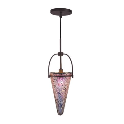 Kenda 1-Light Mini Pendant Shade Color: Iridescent, Finish: Metallic Bronze