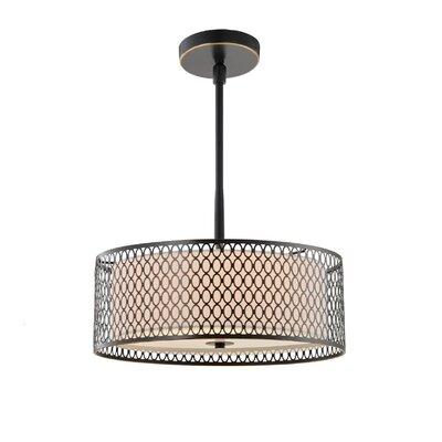 Ferrigno Vintage 3-Light Drum Pendant Finish: Bronze