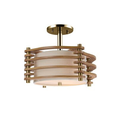 Steps 3-Light Semi Flush Mount Finish: Brushed Brass