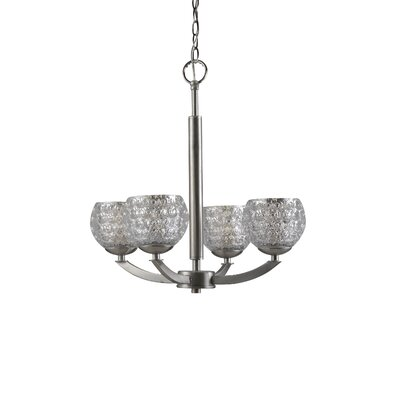 Mirage 4-Light Shaded Chandelier Finish: Satin Nickel, Shade Color: Mercury