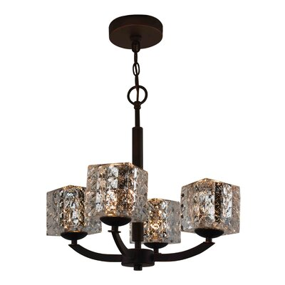 Mirage 4-Light Shaded Chandelier Shade Color: Mercury, Finish: Satin Nickel