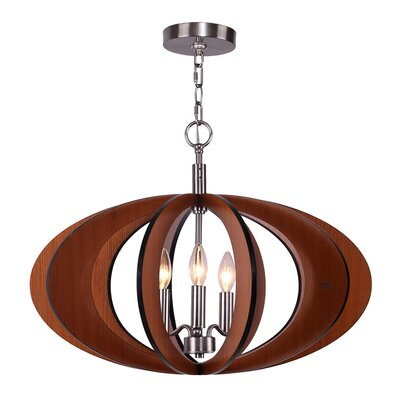 Fins 3-Light Foyer Pendant Finish: Cherry/Satin Nickel