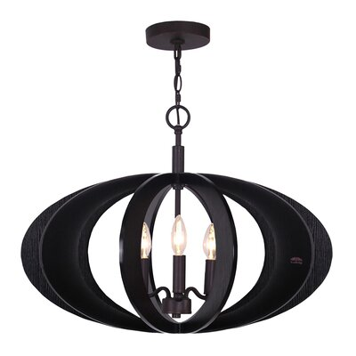 Fins 3-Light Foyer Pendant Finish: Wenge/Bronze